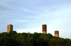 Ruined medieval castle with tower in Checiny Royalty Free Stock Image
