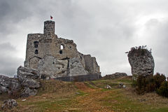 Ruined medieval castle with tower in Mirow Stock Images