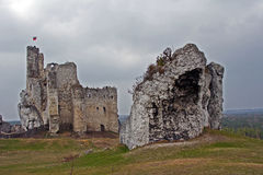 Ruined medieval castle with tower in Mirow Stock Photos
