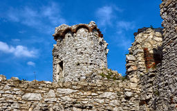 Ruined medieval castle with tower in Ogrodzieniec Royalty Free Stock Photo