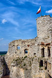 Ruined medieval castle with tower in Ogrodzieniec Royalty Free Stock Images