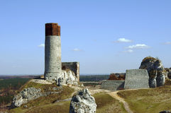 Ruined medieval castle with tower in Olsztyn Royalty Free Stock Photography