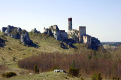 Ruined medieval castle with tower in Olsztyn Stock Images