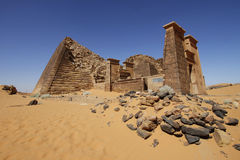 Ruined Meroe pyramid. Ruined pyramids of Meroe, Sudan Royalty Free Stock Images