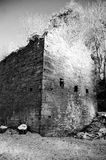 Ruined Mill. In black and white Royalty Free Stock Image