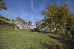 Ruined monastery of Pitoes das Junias, Municipality of Montalegre. Peneda Gerês National Park. Portugal. View from tha Ruined monastery of Pitoes das Junias stock photos
