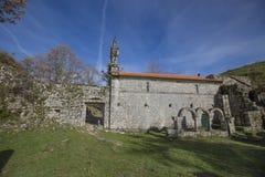 Ruined monastery of Pitoes das Junias, Municipality of Montalegre. Peneda Gerês National Park. Portugal. View from tha Ruined monastery of Pitoes das Junias royalty free stock photography