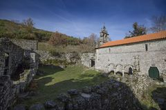 Ruined monastery of Pitoes das Junias, Municipality of Montalegre. Peneda Gerês National Park. Portugal. View from tha Ruined monastery of Pitoes das Junias royalty free stock images