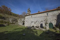 Ruined monastery of Pitoes das Junias, Municipality of Montalegre. Peneda Gerês National Park. Portugal. View from tha Ruined monastery of Pitoes das Junias royalty free stock photo