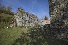 Ruined monastery of Pitoes das Junias, Municipality of Montalegre. Peneda Gerês National Park. Portugal. View from tha Ruined monastery of Pitoes das Junias royalty free stock image