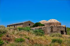 Ruined Mosque, Methoni castle, Greece royalty free stock photography