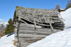 Ruined Mountain Cabin Royalty Free Stock Photos