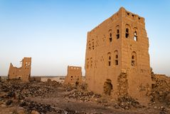 Buildings in Yemen. Ruined multi-storey buildings made of mud in the district of Marib, Yemen stock images