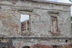 Ruined and old brick wall with windows Royalty Free Stock Photography