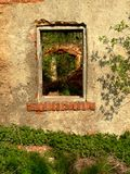 Ruined  old house. The wall and window in ruined  old house Royalty Free Stock Photo