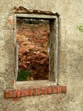 Ruined  old house. The wall and window in ruined  old house Royalty Free Stock Photos