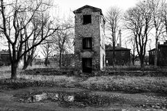 Ruined old house in black and white Royalty Free Stock Images