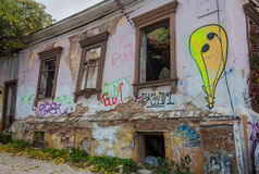 Ruined old house in the center of Kiev Royalty Free Stock Image