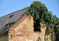 Ruined old house wall and roof Stock Images