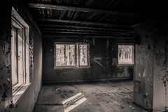 Ruined old room. Image of old ruined room with window Royalty Free Stock Photo