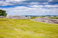 Old Sarum settlement remains Salisbury Wiltshire South West Engl. Ruined Old Sarum, the site of the earliest settlement of Salisbury, Wiltshire, South West Royalty Free Stock Photography