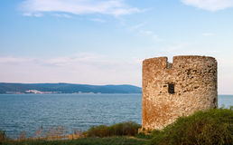 Ruined old stone tower in Nessebar resort town Stock Image
