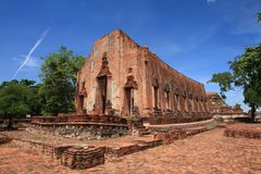 Ruined Old Temple Ayutthaya, Thailand, Royalty Free Stock Image