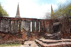 Ruined Old Temple, Ayutthaya, Thailand, Stock Photo