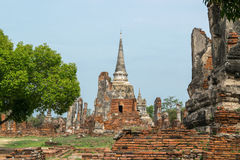 Ruined Old Temple of Ayutthaya, Thailand. Ruined Old Temple of Ayutthaya in Thailand Royalty Free Stock Photography