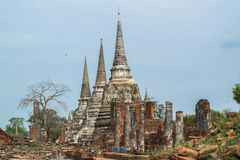 Ruined Old Temple of Ayutthaya, Thailand. Ruined Old Temple of Ayutthaya in Thailand Royalty Free Stock Images