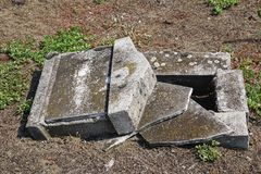 Ruined old tombstone in the jewish cemetery. H stock images