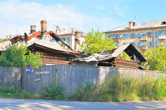 Ruined old wooden building in the central part of Vologda. Royalty Free Stock Images