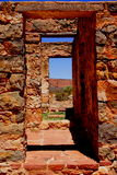 Ruined Outback Doorway. Photograph taken at Kanyaka Ruins near Hawker featuring several doorways in an ruined outback building (Flinders Ranges, South Australia royalty free stock photo