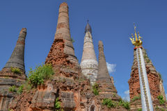 Ruined pagoda, Inle lake. Myanmar, Burma Royalty Free Stock Image