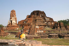 Ruined pagoda of Wat Mahathat Stock Images