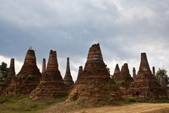 Ruined pagodas in Samkar on Inle lake, Shan state, Myanmar Stock Photos