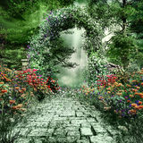 Ruined path in the garden Stock Image