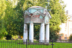 Ruined pavilion in park, Metallostroy. Royalty Free Stock Images
