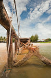 Ruined pier. Ruined pier and blue sky at Thailand Royalty Free Stock Photo
