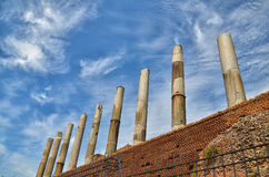Ruined Pillars of Roman forum in Rome Royalty Free Stock Images