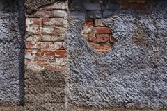 Ruined plaster on the wall stock image