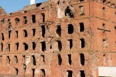 Ruined red brick mill Stock Photos