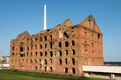 Ruined red brick mill Royalty Free Stock Image