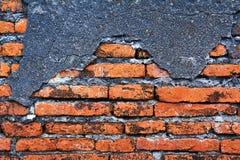 Ruined red brick wall royalty free stock photo