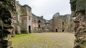 The ruined remains of Raglan Castle, Monmouthshire, Wales, UK. stock image
