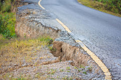 Ruined road. From the landslide Royalty Free Stock Image
