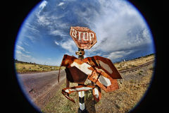Ruined road sign Stop Stock Photo