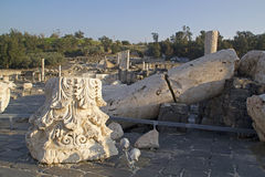 Ruined roman temple in Beit Shean Stock Photos