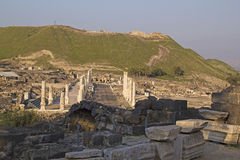 Ruined roman town Beit Shean (Scythopolis) Stock Photo