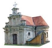 Ruined schloss die kleine ländliche lokalisierte Kirche Lizenzfreies Stockbild